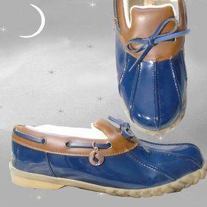 Sporto Duck Shoes, Navy & Brown, Cute Vinyl Shoes - 6 1/2
